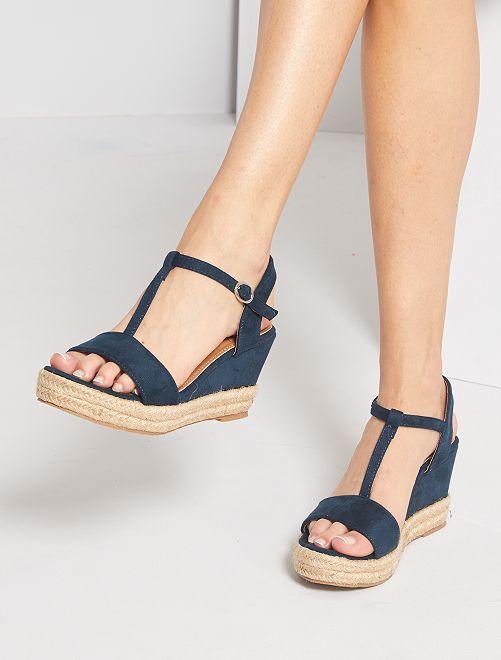 Sandales compensées en suédine                                         bleu