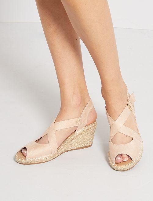 Sandales compensées en suédine                             rose pâle