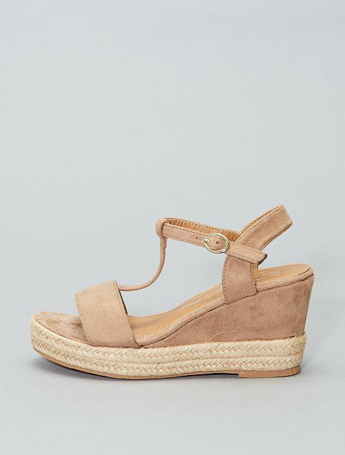 Sandales compensées en suédine                             taupe