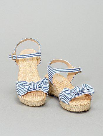 Sandales compensées en tissu