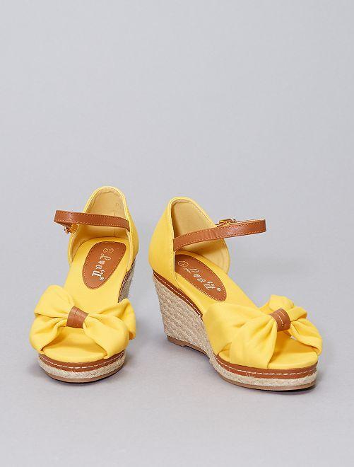 Sandales compensées en toile                     jaune