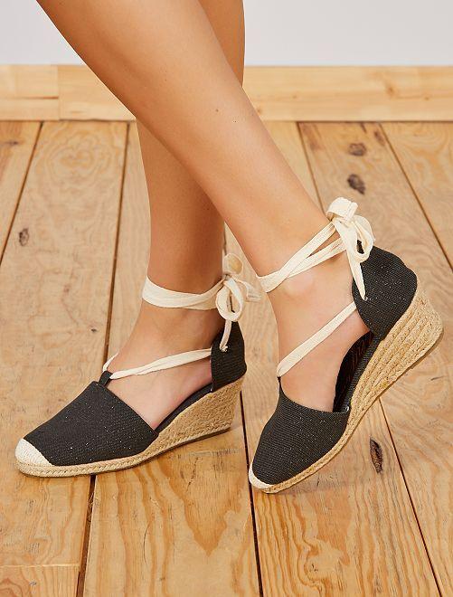 Sandales compensées en toile                             noir Femme