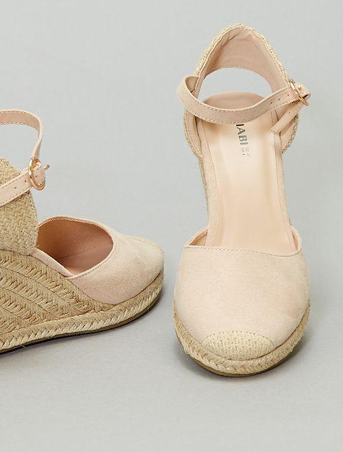 Sandales compensées esprit mule                                         beige clair