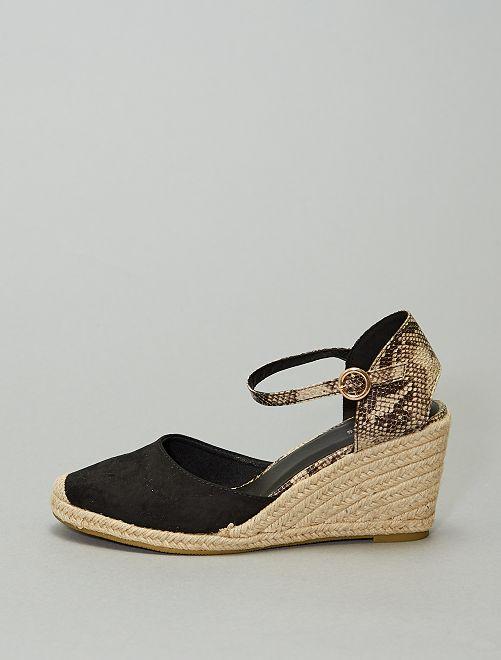 Sandales compensées esprit mule                                         noir