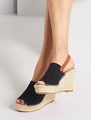 Sandales compensées esprit mules