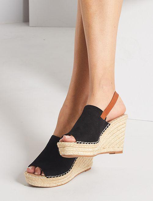 Sandales compensées esprit mules                             noir