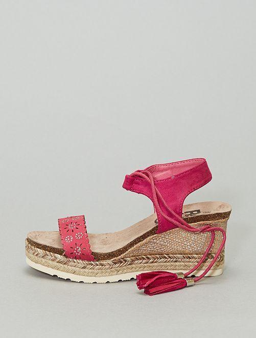 Sandales compensées                             fuchsia