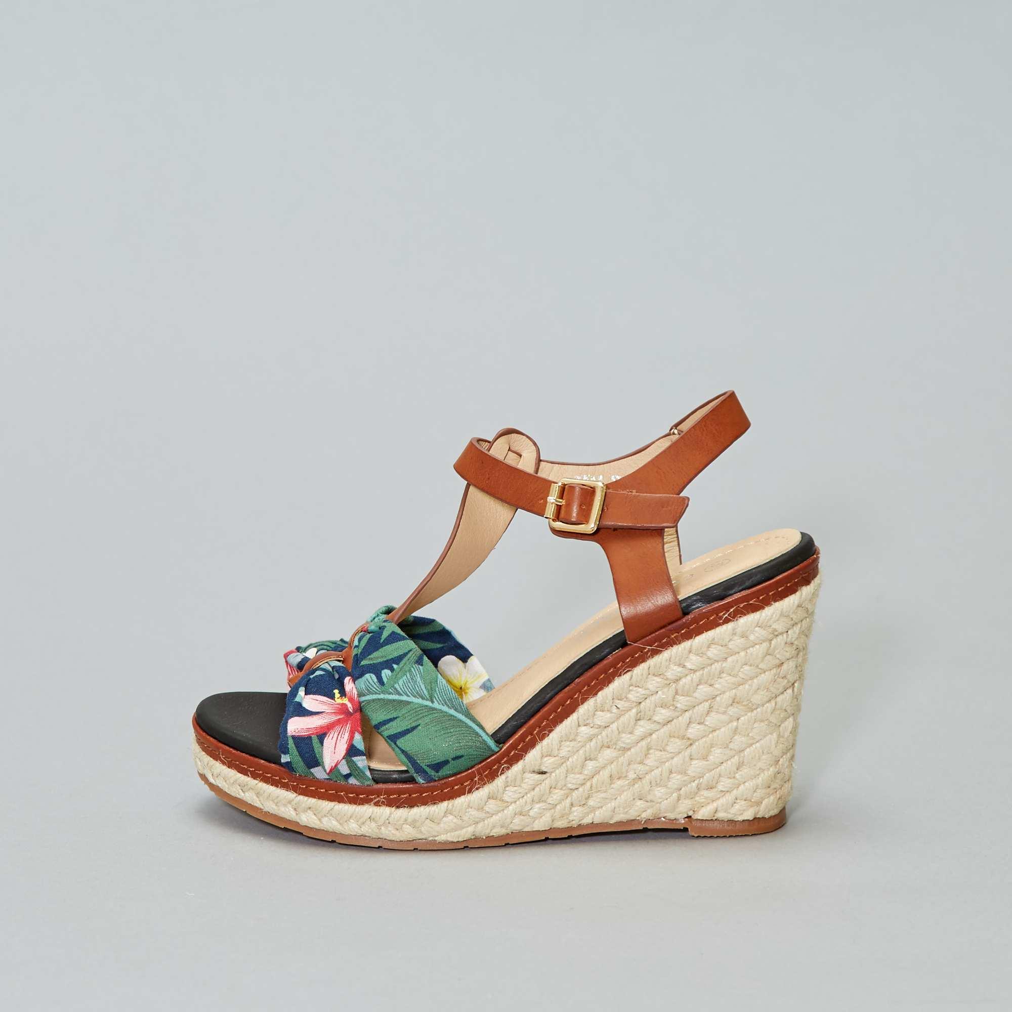 36fff90b3a3c2d Sandales compensées imprimé tropical Femme - bleu/rose/vert - Kiabi ...