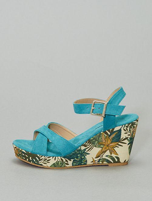 Sandales compensées imprimées                             turquoise