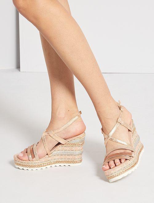 Sandales compensées irisées                             rose