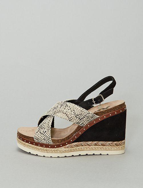 Sandales compensées motif 'serpent'                             noir/gris/marron
