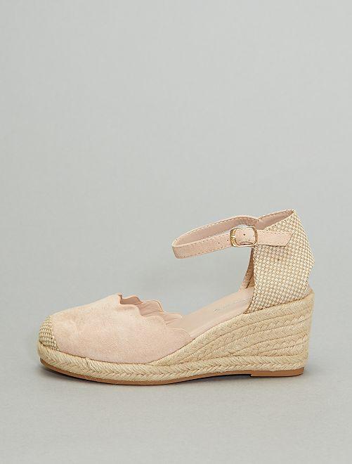 Sandales compensées                                                     rose pâle