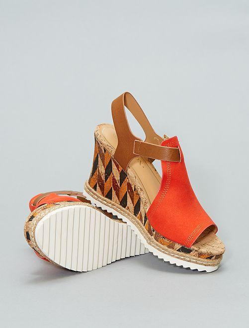 Sandales compensées                             rouge Femme