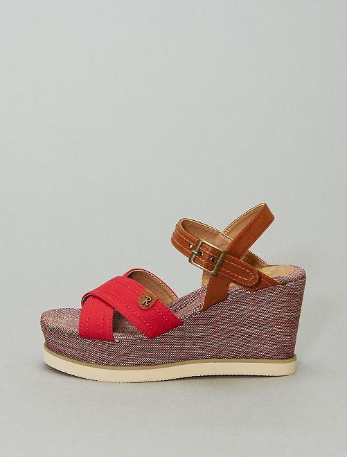 Sandales compensées                             rouge/marron