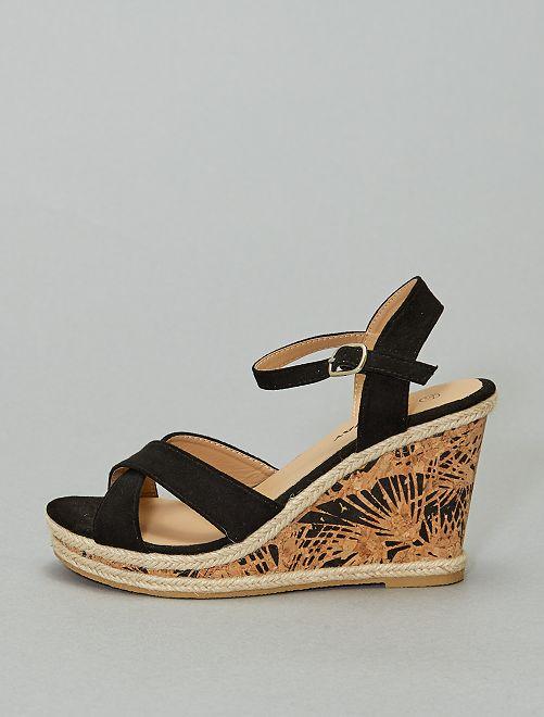 Sandales compensées talon imprimé                             noir