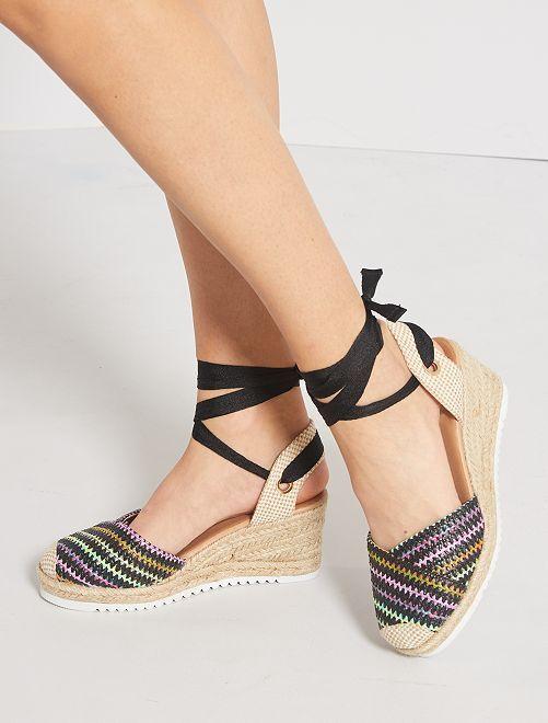 Sandales compensées tressées                                         noir