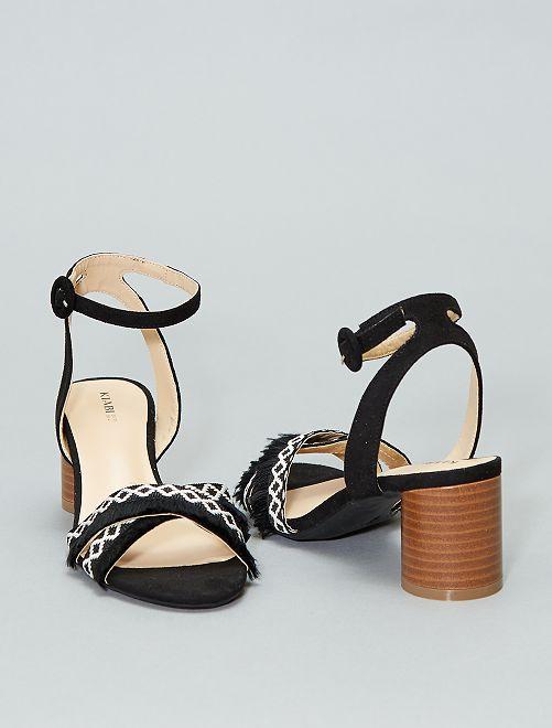 Sandales croisées à franges                             noir Femme