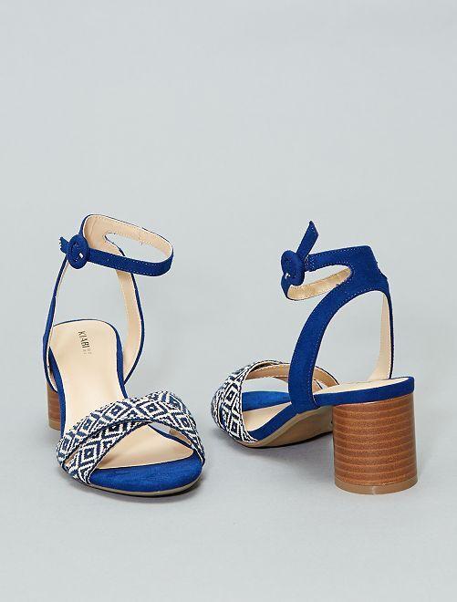 Sandales croisées brodées                             bleu Femme