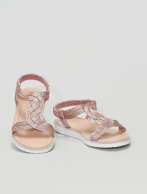 Sandales cuivrées avec strass                             rose