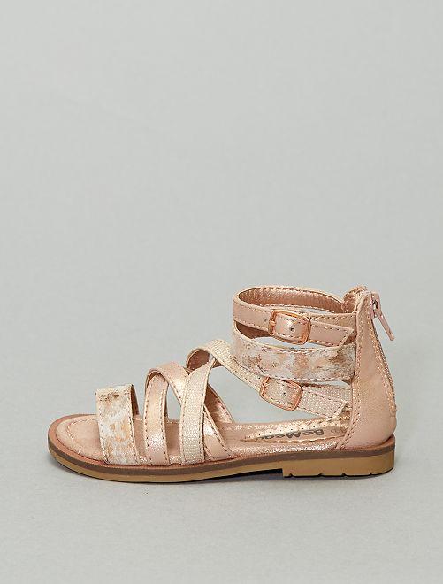 Sandales cuivrées                             rose