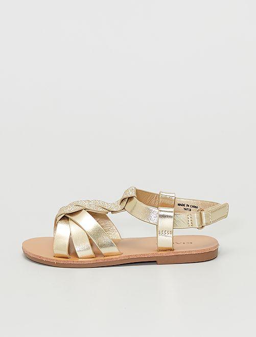 Sandales dorées et paillettes                             doré