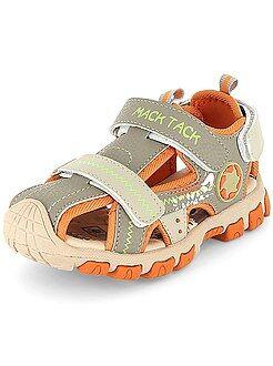 Chaussures, chaussons - Sandales en simili 3 scratchs - Kiabi