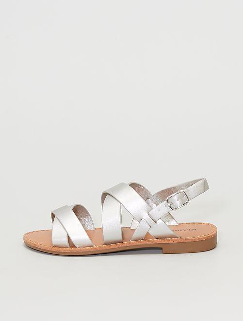Sandales en simili                                         argent