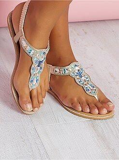 Chaussures - Sandales en simili avec détails sur bride - Kiabi