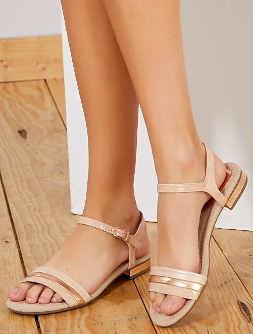 Sandales en simili                             beige Femme