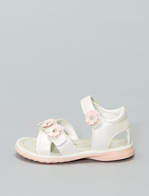 Sandales en simili brillant                             blanc rose Fille