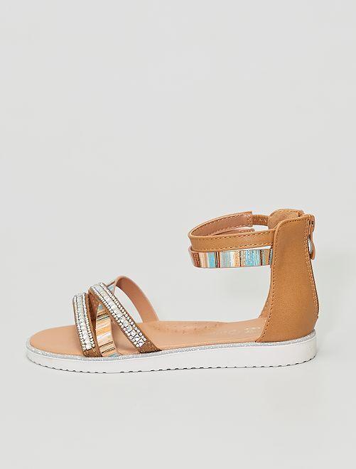 Sandales en simili                             camel