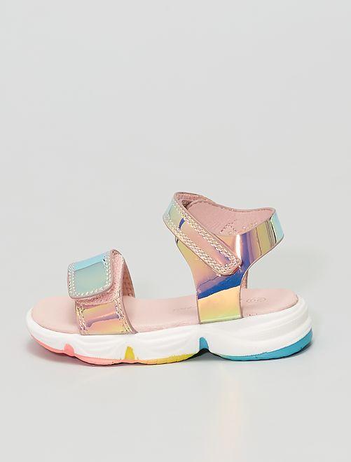 Sandales en simili couleur holographique                             rose