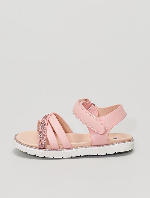 Sandales en simili et paillettes                             rose
