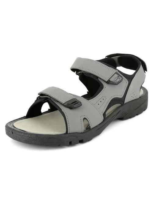 Sandales en simili et textile à scratchs                             gris Homme