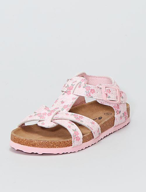 Sandales en simili fleuri et pailleté                             rose