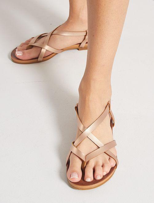 Sandales en simili irisé                             rose