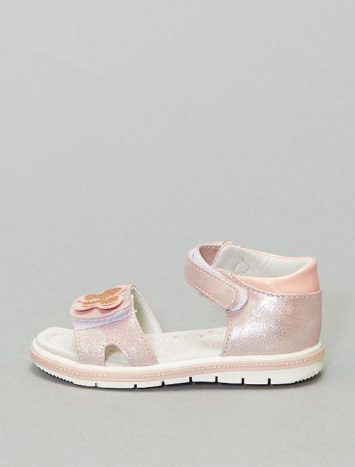 Sandales en simili pailleté                             rose