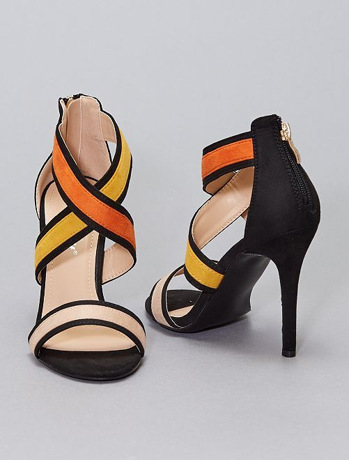 Sandales en suédine à talons                     BEIGE