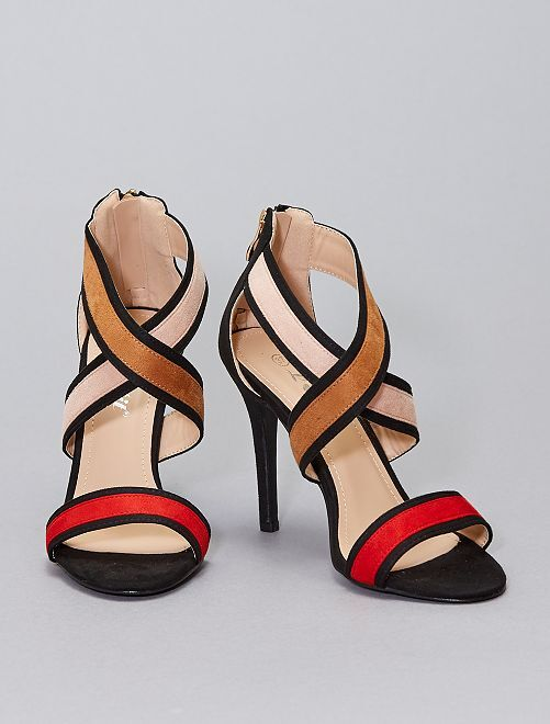 Sandales en suédine à talons                                         rouge
