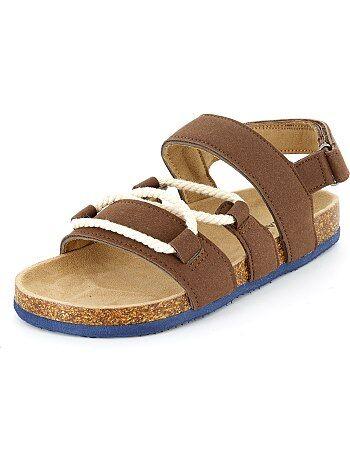 Sandales en suédine avec cordes - Kiabi