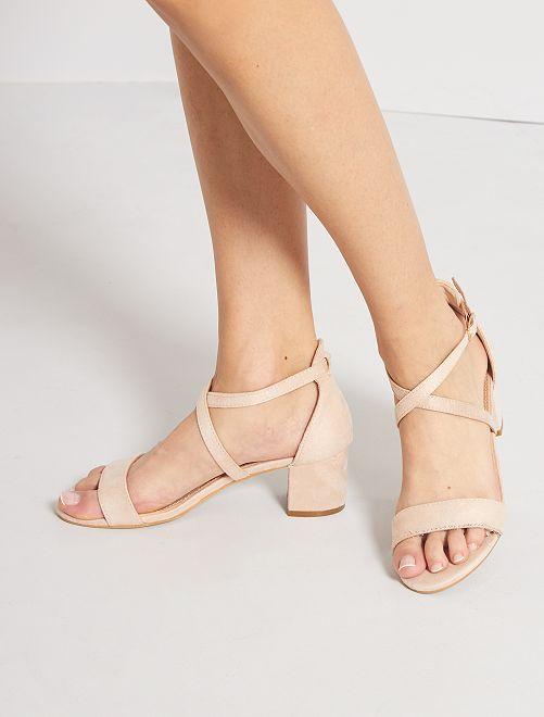 Sandales en suédine                                         beige