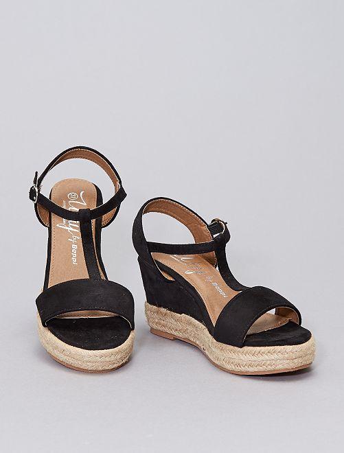 Sandales en suédine compensées                                         noir