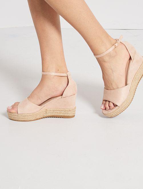 Sandales en suédine compensées                     rose