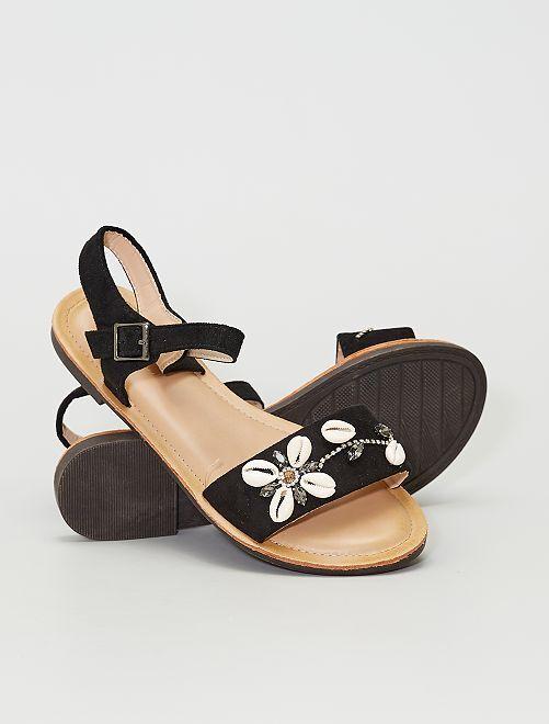 Sandales en suédine 'coquillages'                             noir