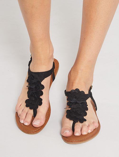 Sandales en suédine 'fleurs'                             noir