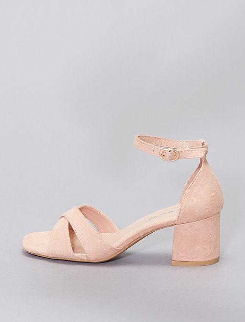 Sandales en suédine                                         rose