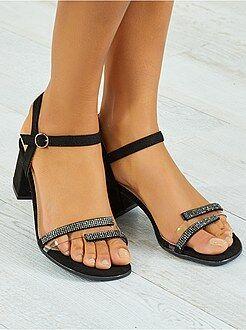 Chaussures femme - Sandales en textile à talon carré - Kiabi