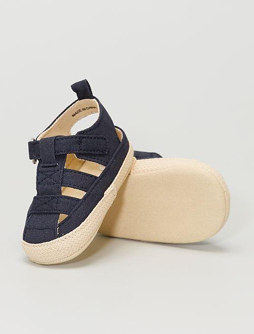 Sandales en toile à scratch                                         bleu marine