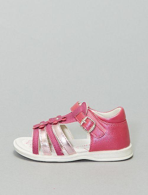 Sandales fermées à scratch                             rose