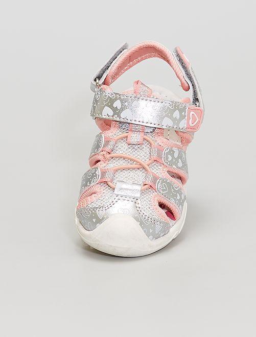Sandales fermées à scratchs                             gris